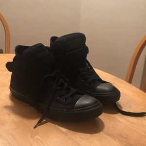 All black converse with Velcro strap!